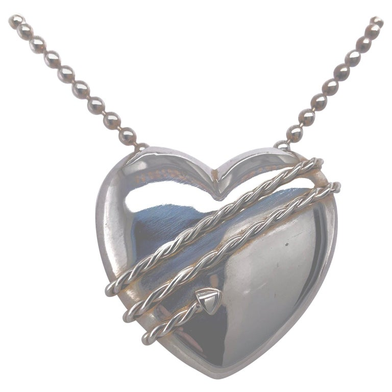 Large Tiffany & Co. Sterling Heart and Chain For Sale