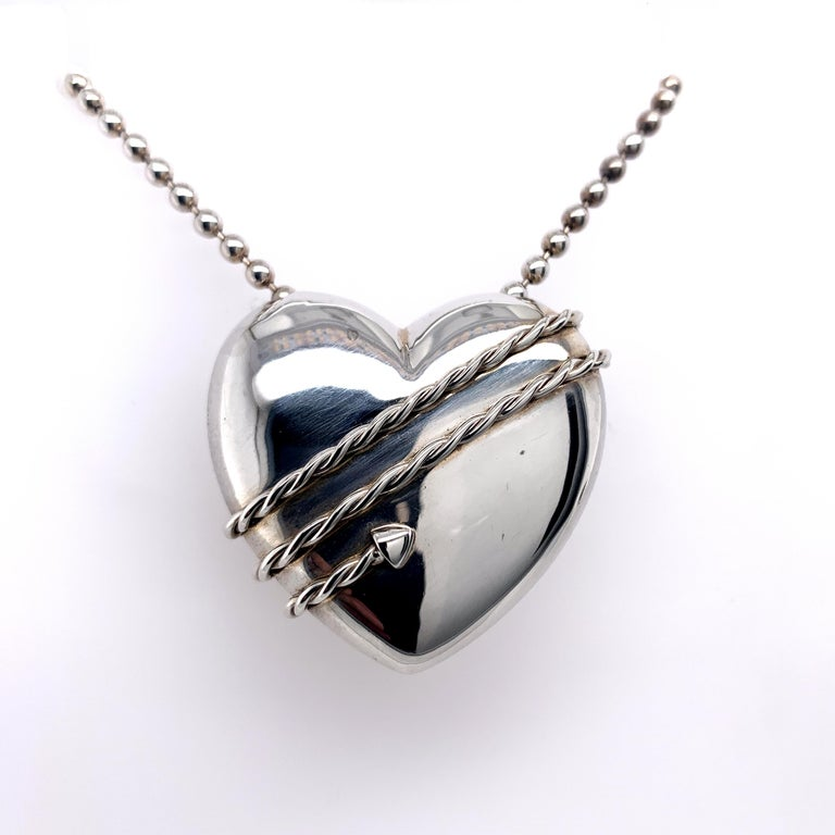 Large Tiffany & Co. Sterling Heart and Chain In Excellent Condition For Sale In New York, NY