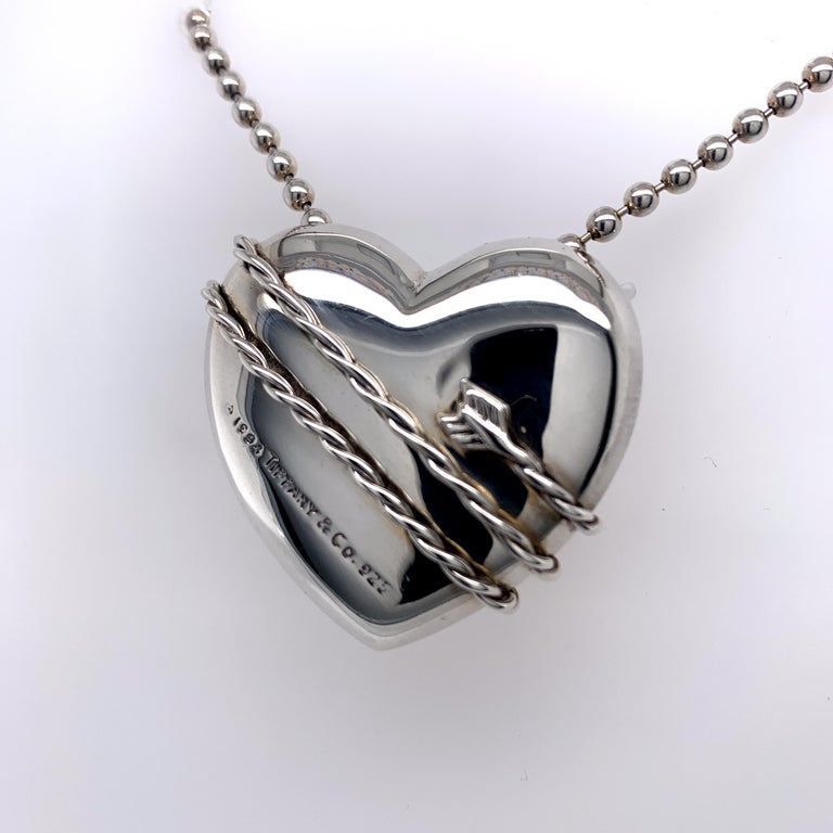 Women's or Men's Large Tiffany & Co. Sterling Heart and Chain For Sale