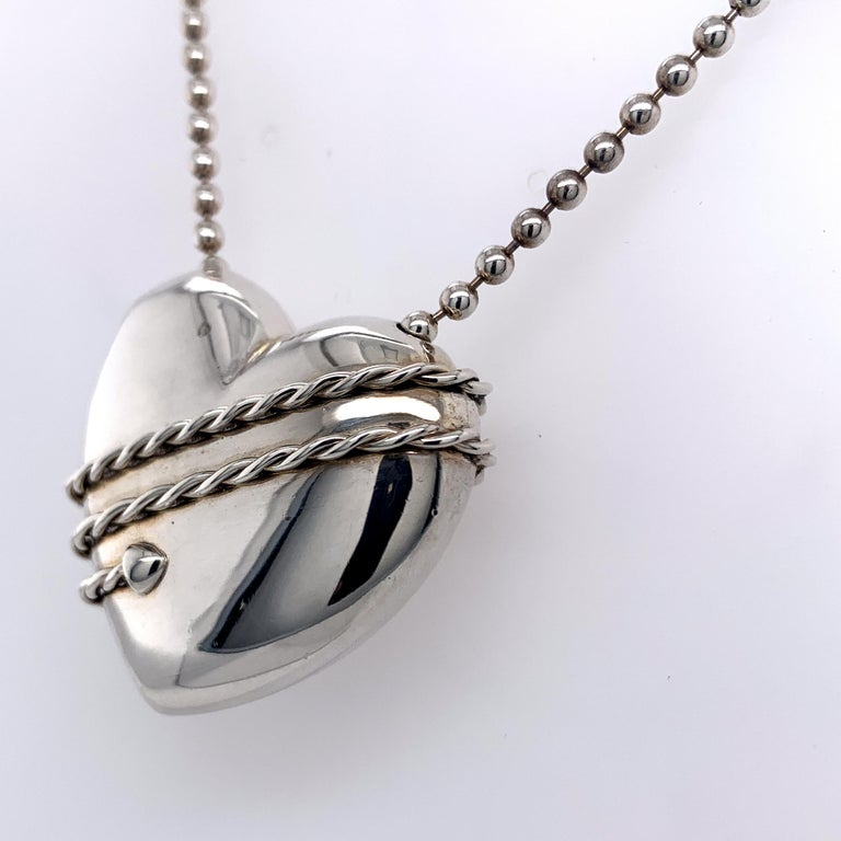 Large Tiffany & Co. Sterling Heart and Chain For Sale 2