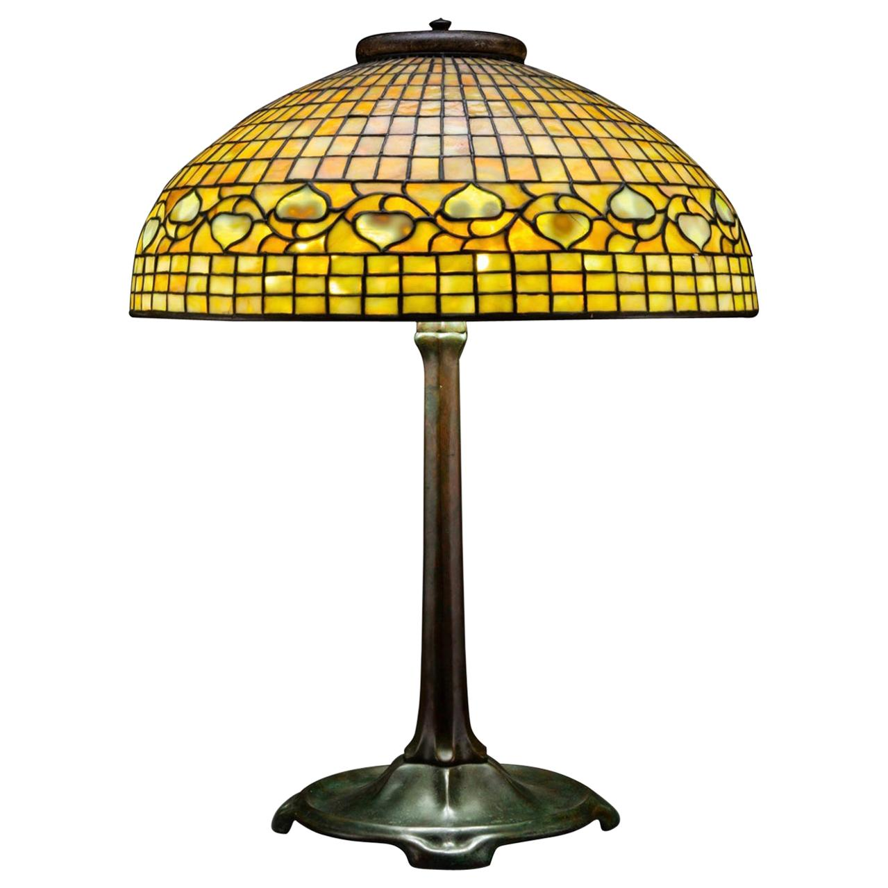 """Large Tiffany Studios """"Acorn"""" Stained Glass Bronze Table Lamp"""