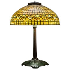 "Large Tiffany Studios ""Acorn"" Stained Glass Bronze Table Lamp"