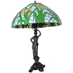 Large Tiffany Style Table Lamp, 1970s