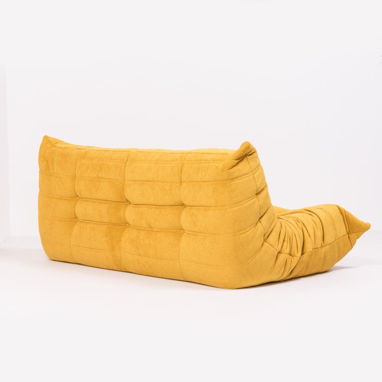 Large Togo Yellow Fabric Sofa by Michel Ducaroy for Ligne Roset In Excellent Condition For Sale In London, GB