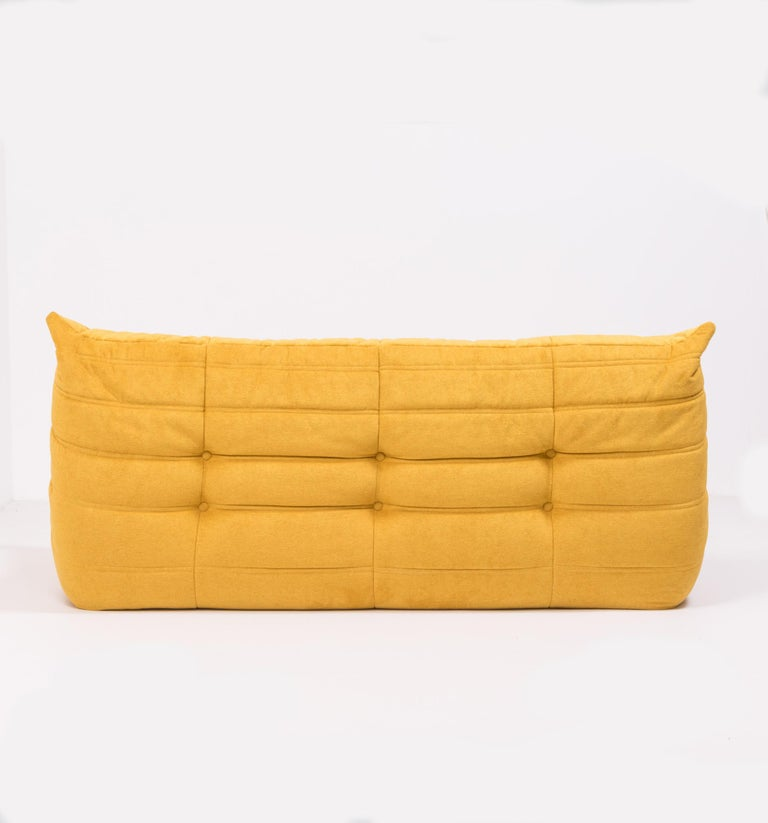Late 20th Century Large Togo Yellow Fabric Sofa by Michel Ducaroy for Ligne Roset For Sale
