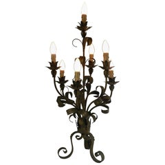 Toleware Table Lamp Large French Floral Midcentury Light c1970