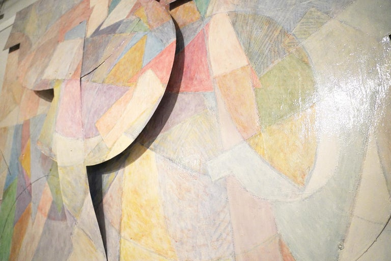 Mid-Century Modern Large Tom Holland Tri-Dimensional Abstract Painting 1986 on Fiberglass For Sale