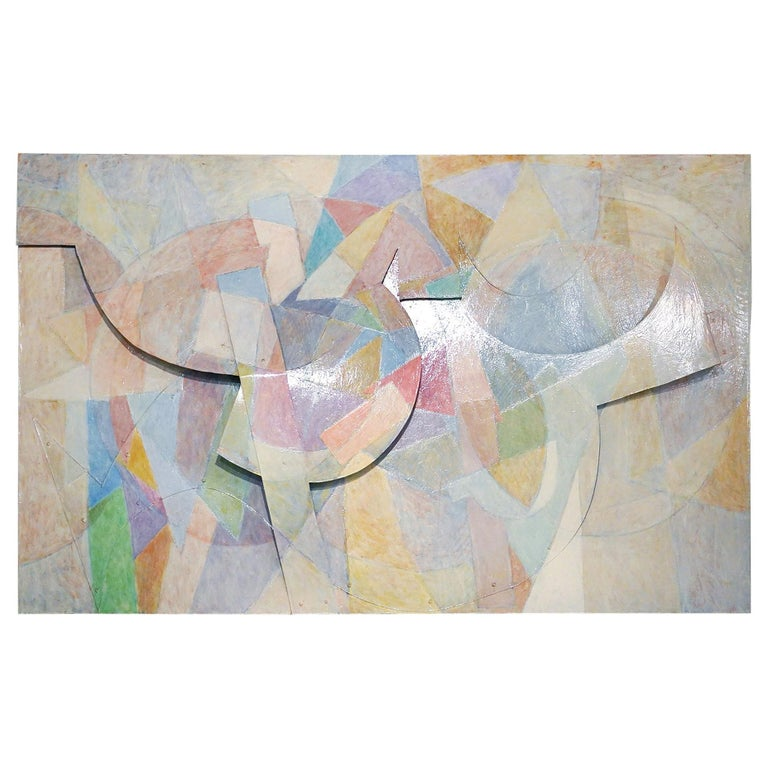 Large Tom Holland Tri-Dimensional Abstract Painting 1986 on Fiberglass For Sale