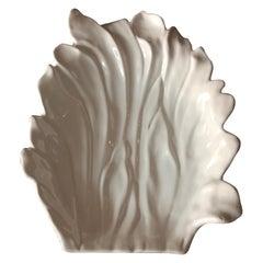 Large Tommaso Barbi White Ceramic Centerpiece, Italy, 1970s