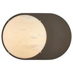 Large 'Toogle' Sconce in Bronzed Steel and Alabaster