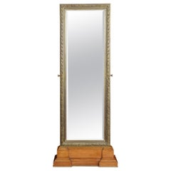 Large Tooled Bronze Framed Two Sided Cheval Mirror