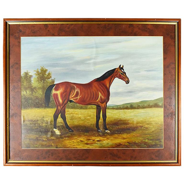 Large Traditional Equestrian Framed Horse Painting on Canvas
