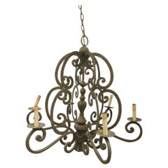 Large Traditional Forged Iron Hanging Chandelier from Currey & Company