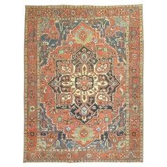 Large Traditonal Antique Persian Heriz Early 20th Century Rug
