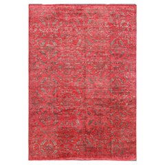 Large Transitional All-Over Design Red Background Rug with Gray Highlights
