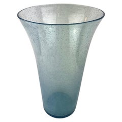 Large Translucent Blue Murano Art Glass Vase with Bubble Inclusions