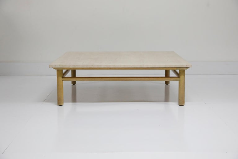 Mid-Century Modern Large Travertine Cocktail Table by T.H. Robsjohn Gibbings for Widdicomb, Signed For Sale