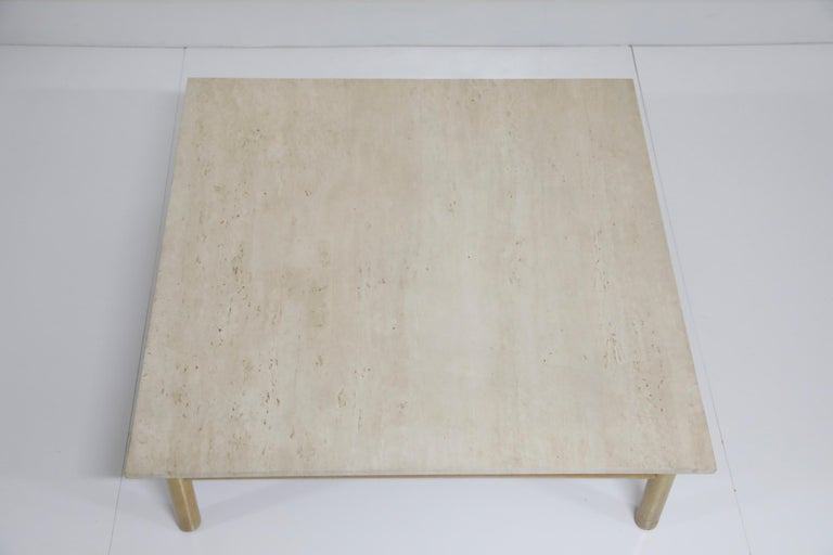 American Large Travertine Cocktail Table by T.H. Robsjohn Gibbings for Widdicomb, Signed For Sale