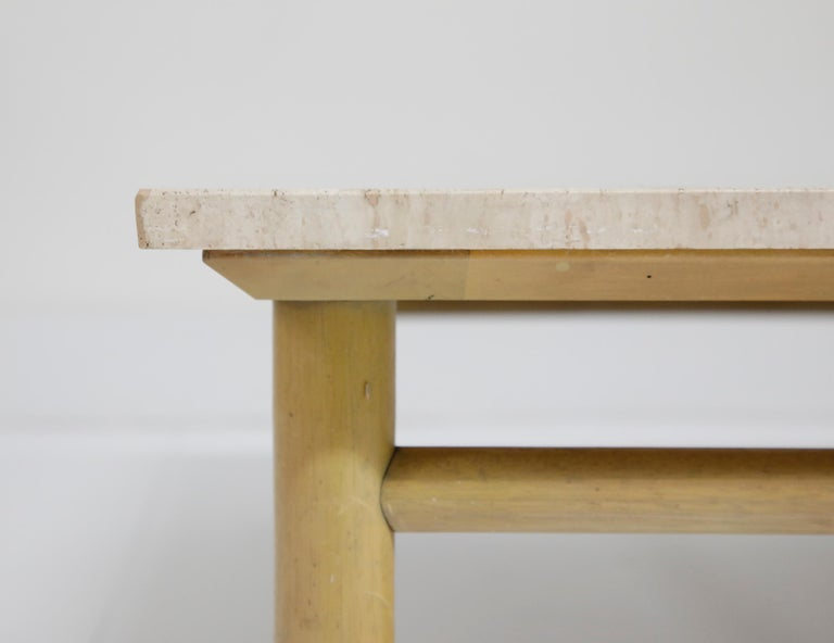 Large Travertine Cocktail Table by T.H. Robsjohn Gibbings for Widdicomb, Signed For Sale 1