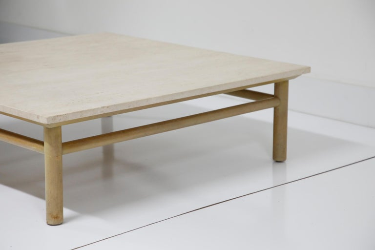 Large Travertine Cocktail Table by T.H. Robsjohn Gibbings for Widdicomb, Signed For Sale 2
