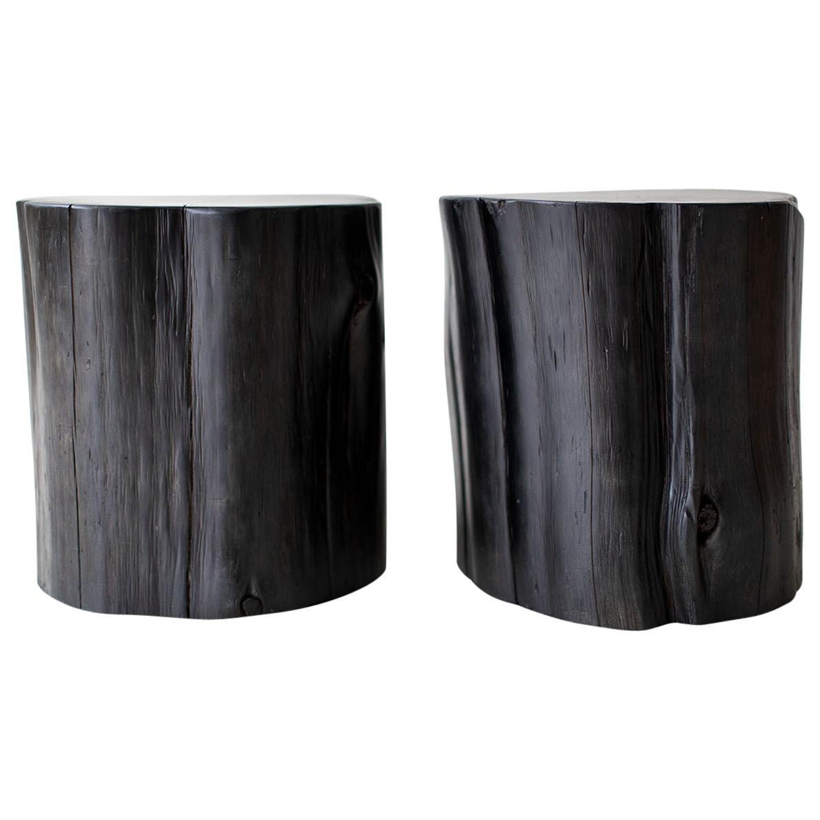 Large Tree Stump Side Tables, Black