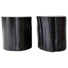 Large Tree Stump Side Tables, Black