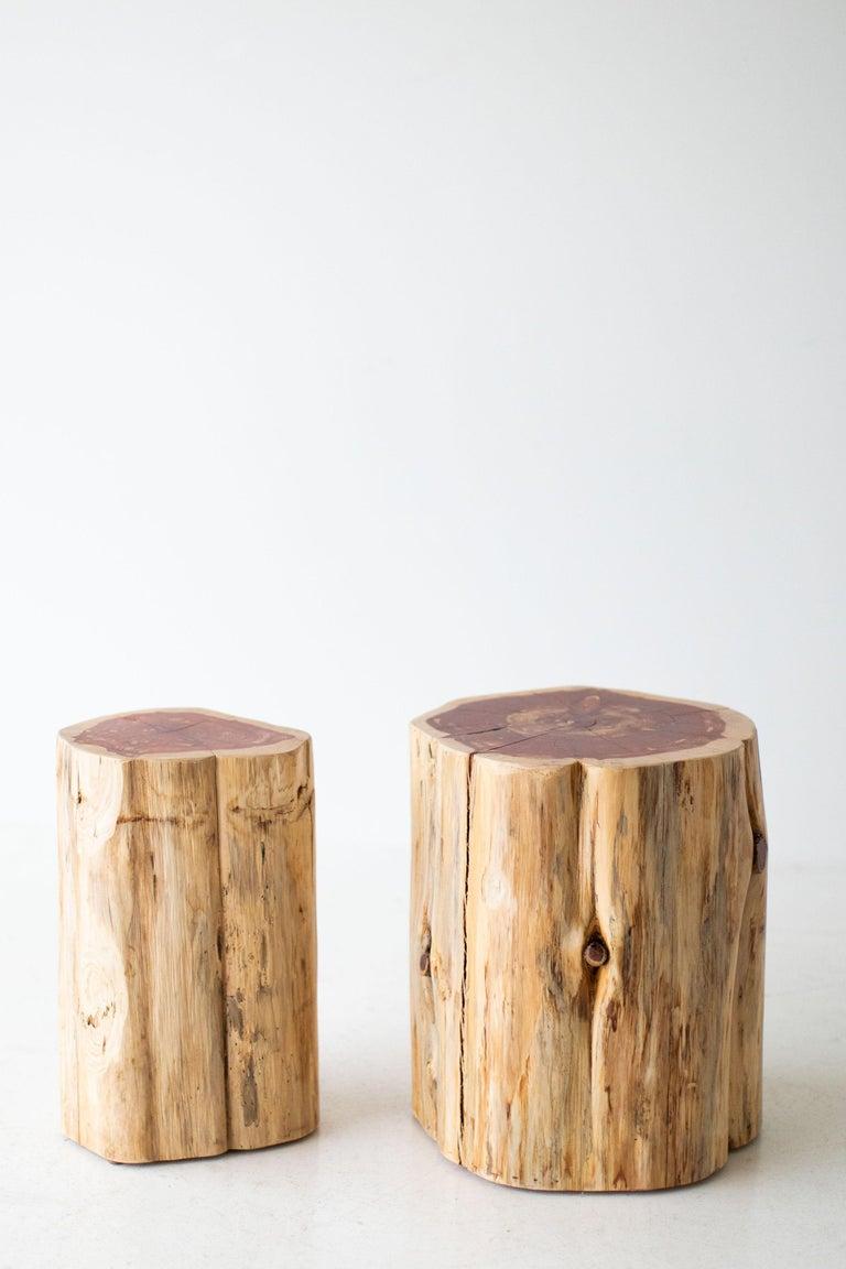 Cedar Large Tree Stump Side Tables, Natural For Sale