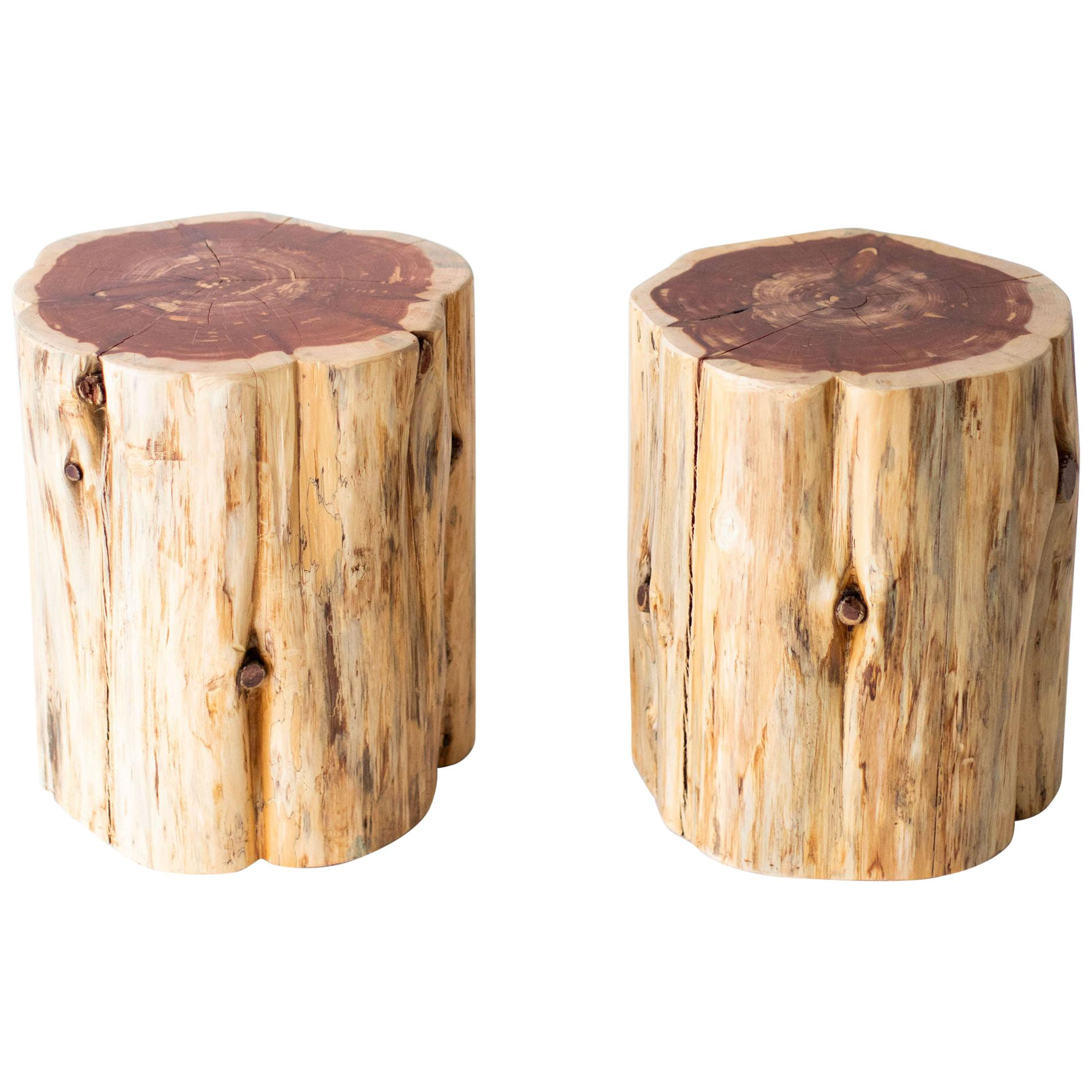 Large Tree Stump Side Tables, Natural