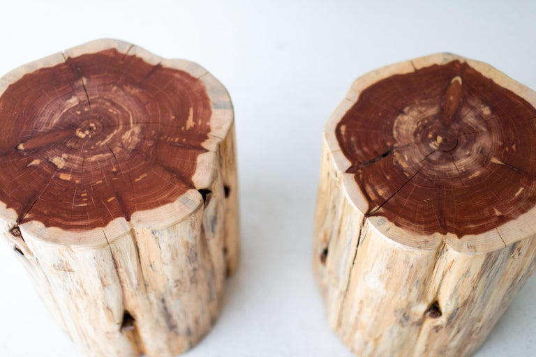 This listing is for a pair of large tree stump side tables in a natural commercial grade finish. These tree stump tables are made in the heart of Ohio with locally sourced wood. They can be used for a side table, a stool, or grouped together for a