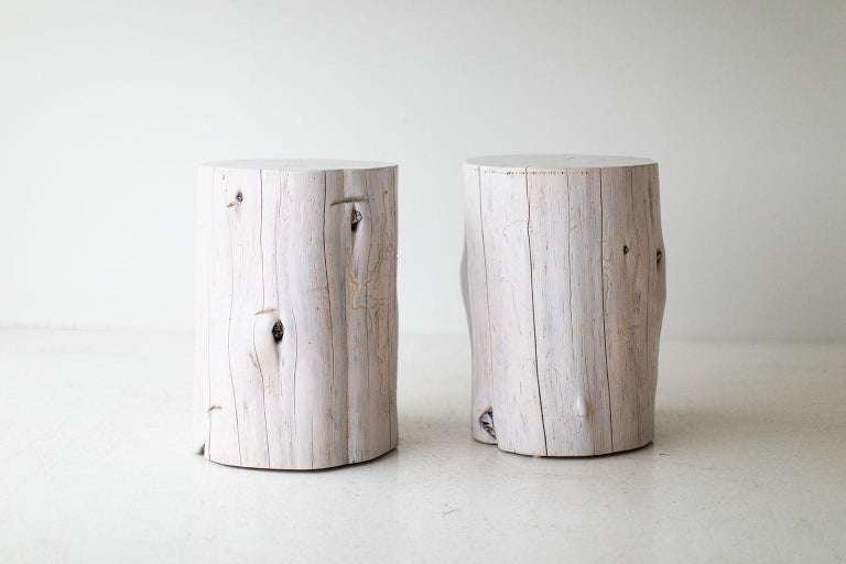 Mid-Century Modern Large Tree Stump Side Tables, Whitewash For Sale