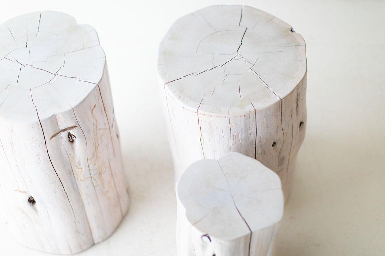 Contemporary Large Tree Stump Side Tables, Whitewash For Sale