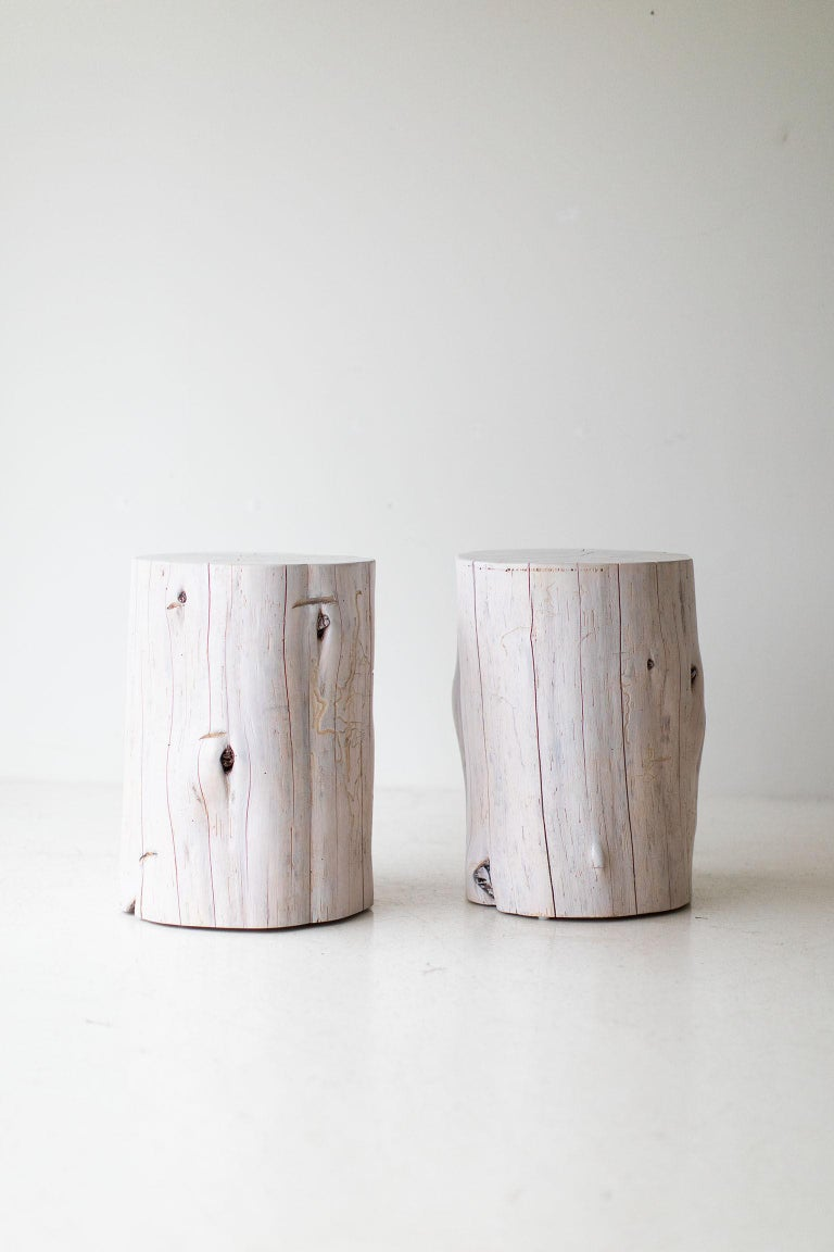 Cedar Large Tree Stump Side Tables, Whitewash For Sale