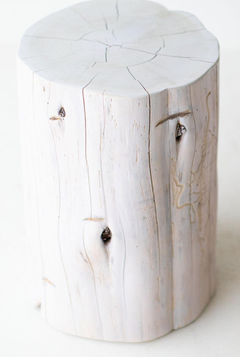 Large Tree Stump Side Tables, Whitewash For Sale 1