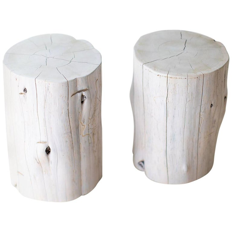 Large Tree Stump Side Tables, Whitewash For Sale
