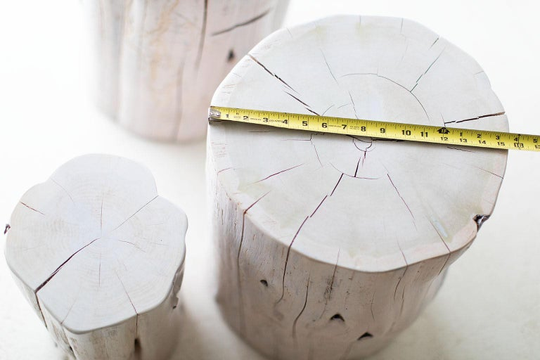 This listing is for a pair of large tree stump side tables in a whitewash commercial grade finish. These tree stump tables are made in the heart of Ohio with locally sourced wood. They can be used for a side table, a stool, or grouped together for a