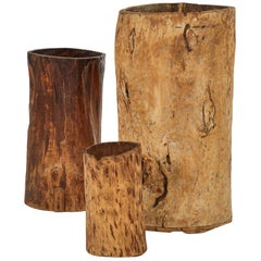 Large Tree Trunk Sculpture with Up-Light