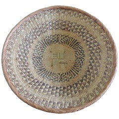 Large Tribal Round Woven Basket in Natural and Brown with Braided Rim