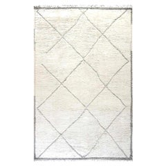 Large Tribal Style Modern Moroccan Wool Area Rug in White and Grey