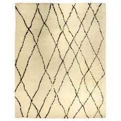 Large Tribal Style Moroccan Wool Rug in Cream and Brown
