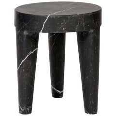 Large Tribute 3 Leg Stool in Black Nero Marquina Marble by Kelly Wearstler