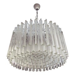 Large Triedri Murano Glass Chandelier, 163 Triedri Transparent Prism
