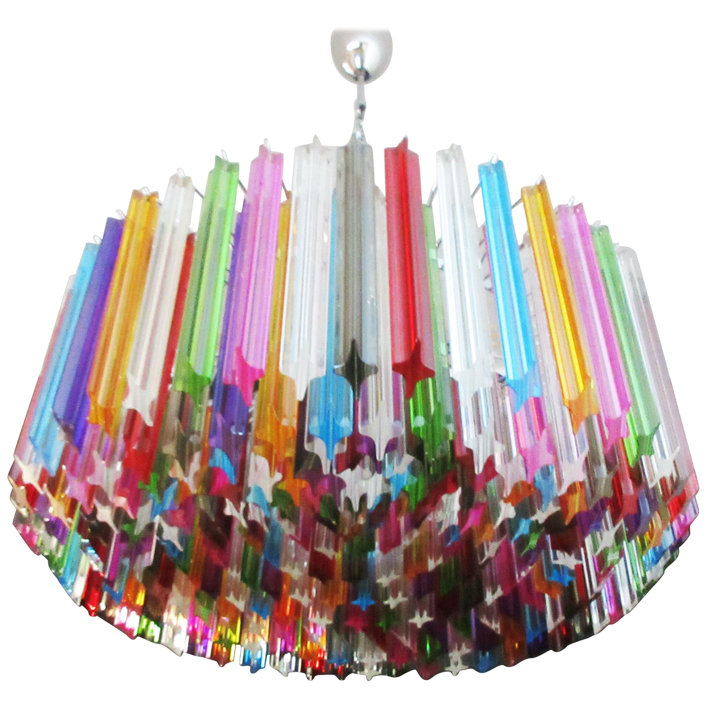 Large Triedri Murano Glass Chandelier, 265 Multicolored Prism