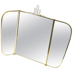 Large Trifold Brass Table Beauty Mirror Midcentury Münchner Zier-Form