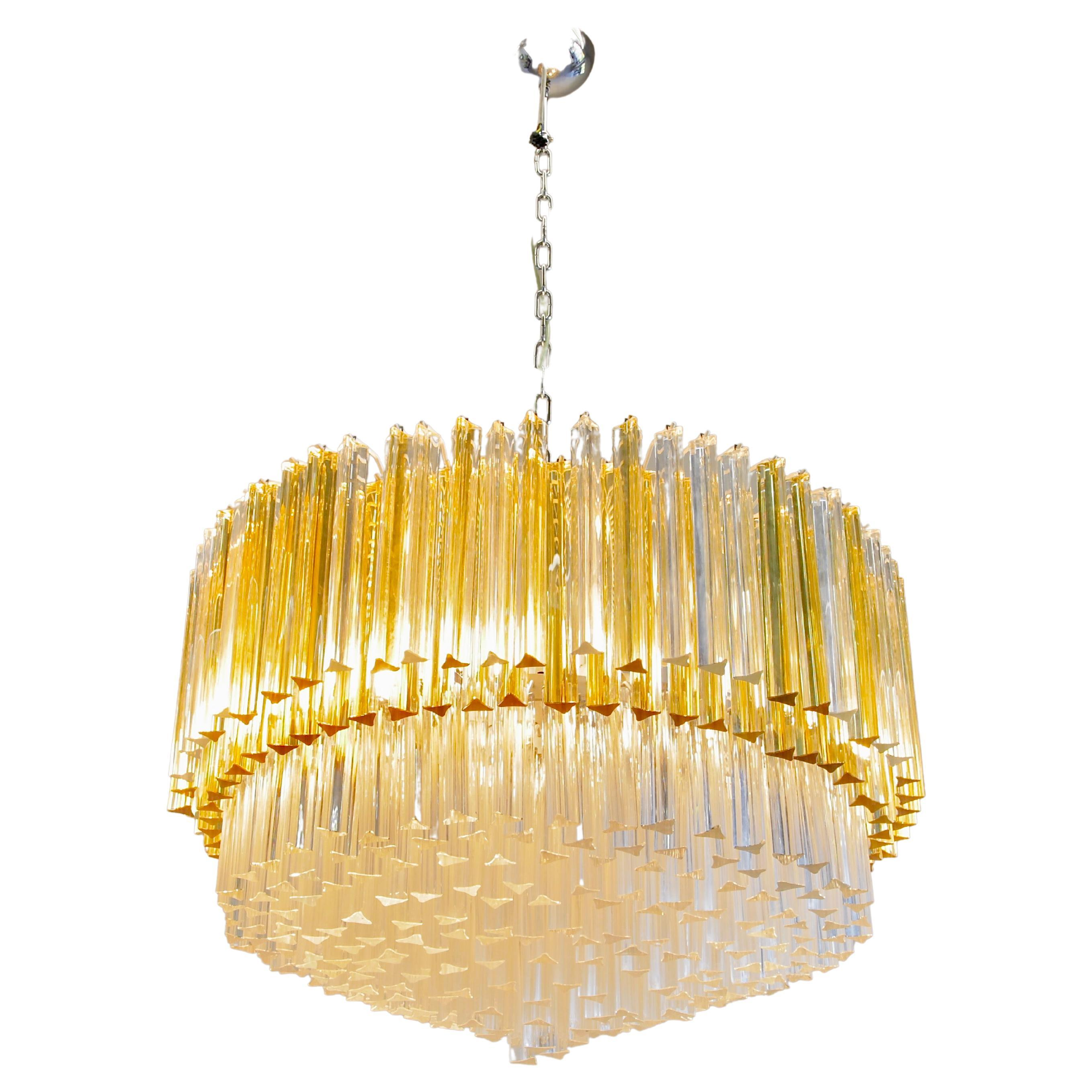 Large Trilobi Glass Chandelier 'Clear/ Amber', Murano