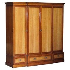 Large Triple Cupboard Breakfront Wardrobe in Cherrywood & Walnut + Drawers Base