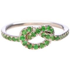 Large Tsavorite Love Knot Ring