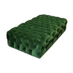 Large Tufted Green Velvet Ottoman by Plantation and Room and Board, circa 2015