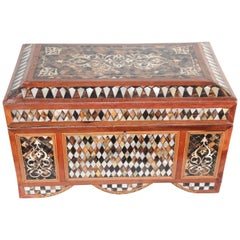 Large Turkish Decorative Jewelry Box Inlaid with Mother of Pearl