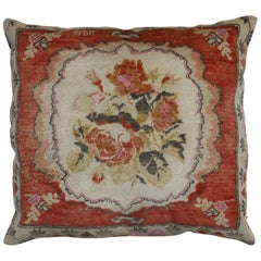 Large Turkish Floor Size Floral Pillow, Dated 1960