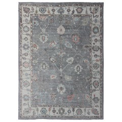 Large Turkish Modern Oushak Rug in Gray, Pink, Neutrals and All-Over Design
